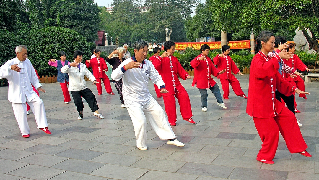 Photo of Tai Chi players practicing in China
