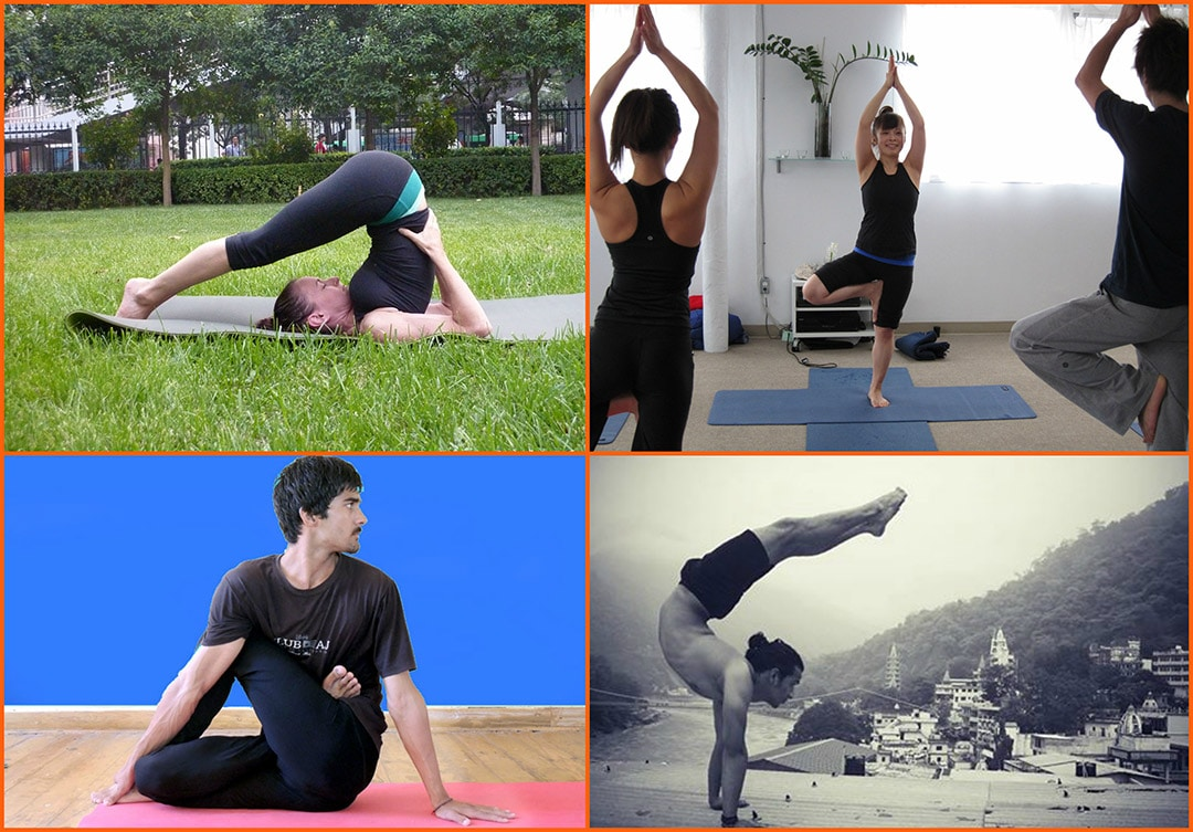 A collage of Hatha Yoga positions